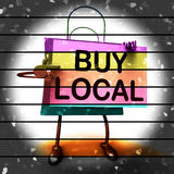 Buy Local Shopping Bag Shows Buying Products Locally Stock Image
