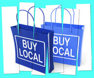 Buy Local Shopping Bags Promote Buying Products Locally Royalty Free Stock Image