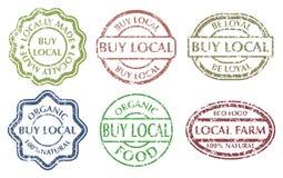Buy local sign. Grunge rubber multicolor stamps set on white background. Vintage vector illustration Stock Photo