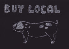 Buy Local Sign with a Pig. Hand drawn Buy Local sign vector illustration