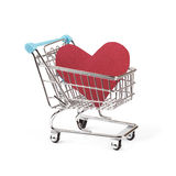 Buy love concept, heart in shopping cart on white Stock Photography