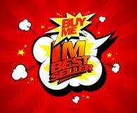 Buy me, I`m bestseller design. Buy me, I`m bestseller design in pop-art style Stock Photos