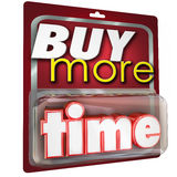 Buy More Time 3d Words Product Package Selling. Buy More Time 3d word in a package sold at a store to extend your cherished moments and keep from getting old Royalty Free Stock Photo