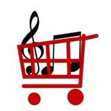 Buy music. Shopping cart whit music notes Stock Photos
