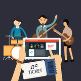 Buy music concert ticket online mobile internet Stock Photo