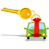 Buy new car. Brand new Car with kay and ribbon Royalty Free Stock Image
