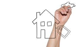 Buy new home concept - hand draws house on glassboard