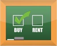 Buy not rent blackboard concept illustration. Design Stock Photo
