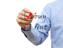 Buy not rent concept on checklist Royalty Free Stock Image