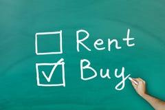 Buy not rent concept. On green blackboard stock photos