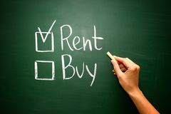 Buy not rent concept on green blackboard Stock Image