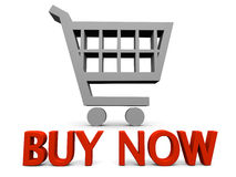 Buy now. Symbol with shopping cart sign  on white background Royalty Free Stock Image