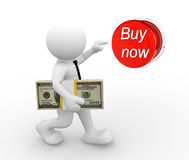 Buy now. 3d people - man , person  with stack of money, pushing buy now button. The concept of shopping Stock Photo