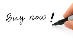 Buy now!. Writing Buy now! on the White Royalty Free Stock Photos