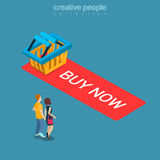 Buy now add to cart button shopping flat isometric vector 3d. Buy now Add to Cart button flat 3d isometry isometric online store sale concept web vector Stock Image
