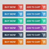 Buy now and add to cart flat buttons on grey background. royalty free illustration