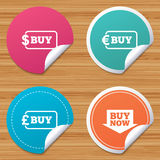 Buy now arrow sign. Online shopping icons. Stock Photo