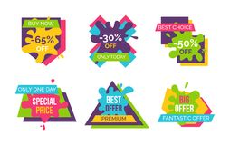 Buy Now, Best Choice Stickers Vector Illustration. Buy now and best choice, fantastic offer only today, stickers and labels with blots, ribbons and geometric Stock Photos