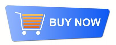 Buy Now Blue. Buy now button with a shopping cart on white background Royalty Free Stock Photo