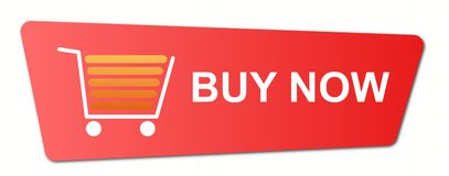 Buy Now Blue. Buy now button with a shopping cart on white background Stock Images