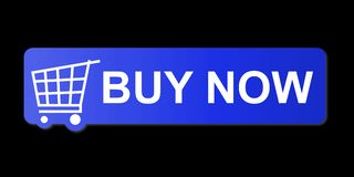 Buy Now Blue. Buy now button with a shopping cart on black background Royalty Free Stock Photo