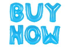 Buy now, blue color. Blue alphabet balloons, buy now, blue number and letter balloon Stock Images