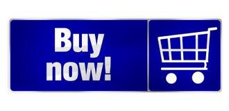 Buy now blue shopping cart Stock Photos