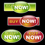 Buy now button. Set of four web button with buy now text,isolated on black.EPS file available royalty free illustration