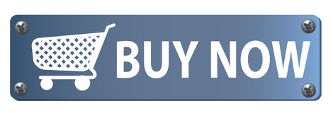 Buy Now Button. With a shopping cart on white background Royalty Free Stock Photography