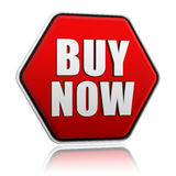 Buy now button. Text buy now in 3d red hexagon banner like button, business concept Stock Photos