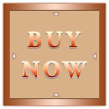 Buy now button. In a beige square with arrows on a white background Stock Photo