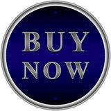Buy now button. In blue circle with arrows Royalty Free Stock Photography