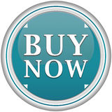 Buy now button. In a blue circle with arrows on a white background Royalty Free Stock Photography