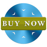 Buy now button. In a blue circle with arrows on a white background Stock Photo