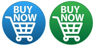 Buy now button blue and green icons. Vector illustration of buy now button blue and green icons on white background Royalty Free Stock Photos