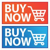 Buy now button blue and orange icons. Vector illustration of buy now button blue and orange icons on white background Stock Photography