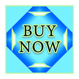 Buy now button. In blue squares with arrows Stock Photo
