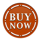 Buy now button. In brown circle with arrows Stock Image