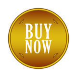 Buy now button. In gold circle with arrows Stock Image