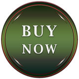Buy now button. Buy now green button with arrows on a white background Stock Photo