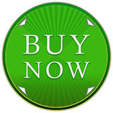 Buy now button. In a green circle with arrows and stripes on a white background Stock Image