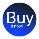 Buy it now!. Illustration of a circular buy it now button with a white background stock photo