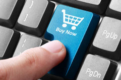 Buy now button on the keyboard. Closeup of buy now button on the keyboard royalty free stock images