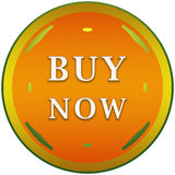 Buy now button. In orange circle with arrows Stock Photography
