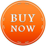 Buy now button. In a orange circle with arrows on a white background Stock Photo