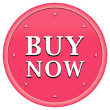 Buy now button. In a pink circle with arrows on a white background Royalty Free Stock Images