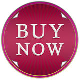 Buy now button. In a purple circle with arrows and stripes on a white background Stock Image