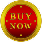 Buy now button. In a red circle with arrows on a white background with a gold border and text Stock Image