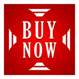 Buy now button. In a red square with arrows on a white background Royalty Free Stock Photo