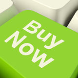 Buy Now Computer Key In Green Showing Purchases And Online Shopping royalty free illustration